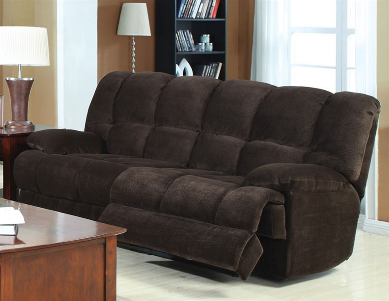 Ahearn Chocolate Microfiber Reclining Sofa By Acme 50475