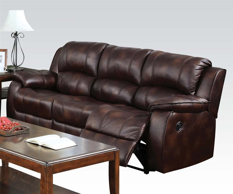 Zanthe Brown Polished Microfiber Reclining Sofa By Acme