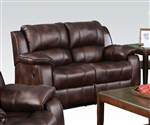 Zanthe Brown Polished Microfiber Reclining Loveseat by Acme - 50511