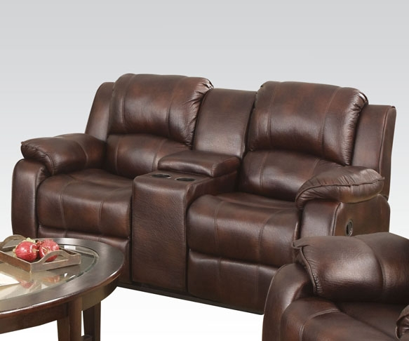 Zanthe Brown Polished Microfiber Reclining Console Loveseat By Acme 50513