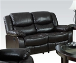 Fullerton Reclining Loveseat in Espresso Bonded Leather by Acme - 50561