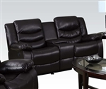 Torrance Espresso Leather Dual Gliding Console Loveseat by Acme - 50576