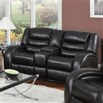 Dacey Espresso Leather Reclining Console Loveseat by Acme - 50743