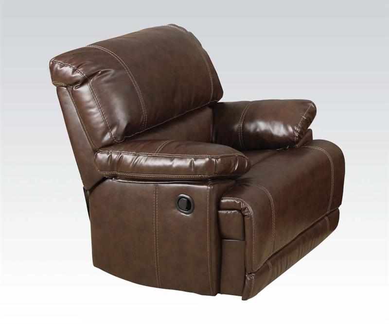 Italian Leather Sofa By Cake: Daishiro Chestnut Leather Reclining Sofa By Acme