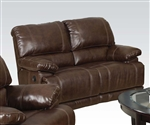 Daishiro Chestnut Leather Reclining Loveseat by Acme - 50746