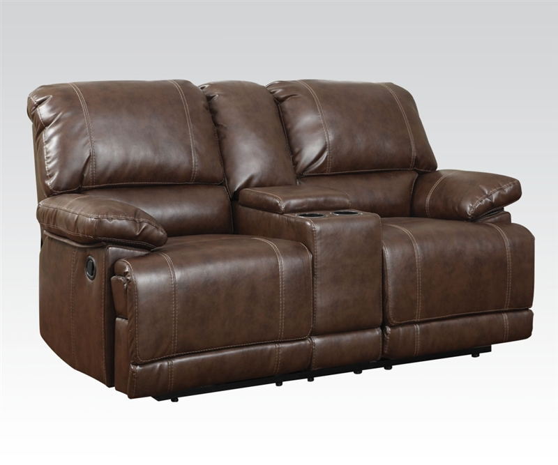 Daishiro Chestnut Leather Reclining Console Loveseat By