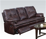 Zamora Brown Polished Microfiber Reclining Sofa by Acme - 50750