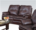 Zamora Brown Polished Microfiber Reclining Loveseat by Acme - 50751