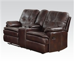 Zamora Brown Polished Microfiber Reclining Console Loveseat by Acme - 50753