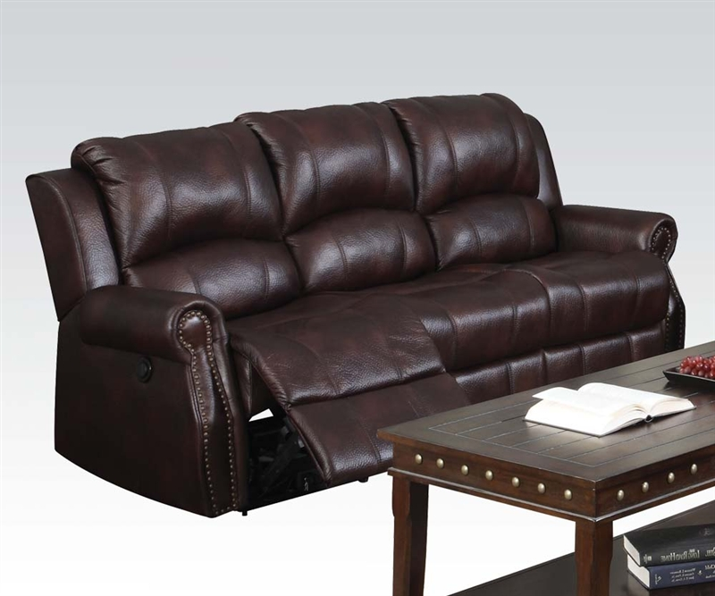 Josef Reclining Sofa In Brown Polished Microfiber By Acme