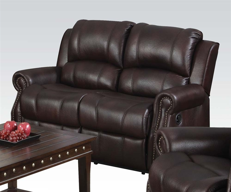 Josef Reclining Loveseat In Brown Polished Microfiber By