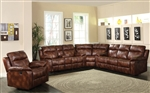 Dyson Light Brown Polished Microfiber 3 Piece Reclining Sectional by Acme - 50818