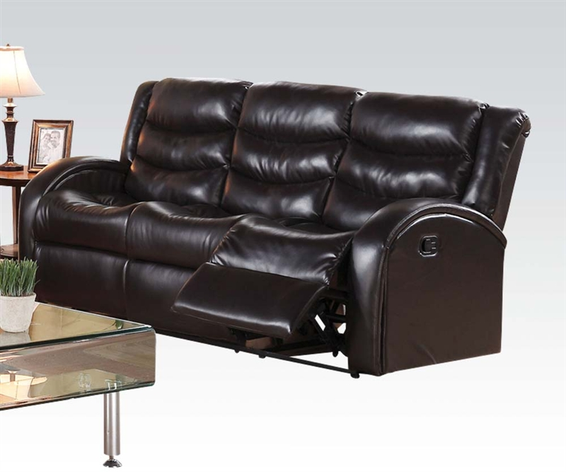 Espresso Leather Reclining Sofa: Noah Reclining Sofa In Espresso Leather By Acme