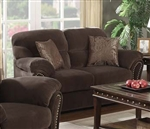 Patricia Chocolate Velvet Reclining Loveseat by Acme - 50956