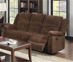 Bailey Dark Brown Chenille Reclining Sofa by Acme - 51025