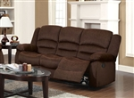Bailey Chocolate Velvet Reclining Sofa by Acme - 51030
