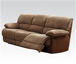 Malvern Two Tone Brown Fabric Reclining Sofa by Acme - 51140