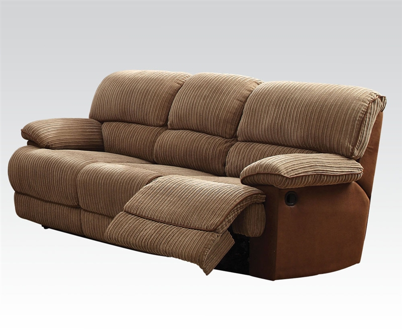 Malvern Two Tone Brown Fabric Reclining Sofa By Acme 51140
