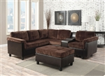 Cleavon Reversible Sectional in Chocolate Champion / Espresso PU by Acme - 51665