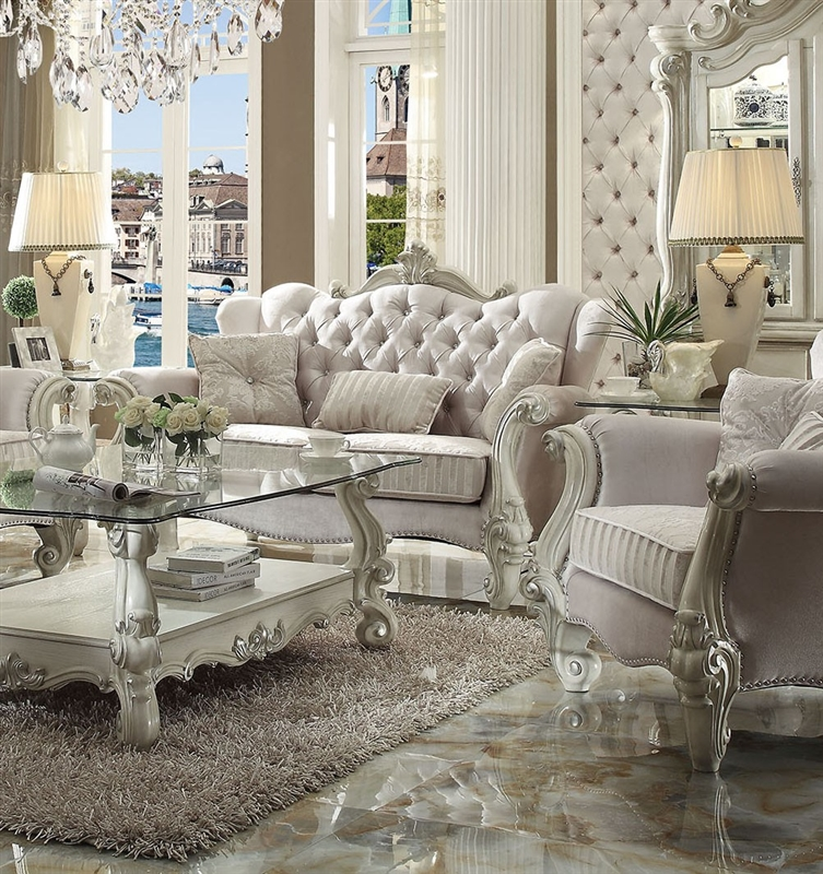 Versailles Sofa Loveseat Living Room Set In Bone White Finish By Acme 52105 S