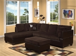 Connell Sectional in Chocolate Corduroy / Espresso PU by Acme - 55975