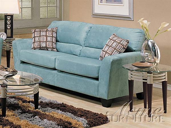 High Quality Westwood Sofa In Tiffany Blue Microfiber Cover By Acme   5920