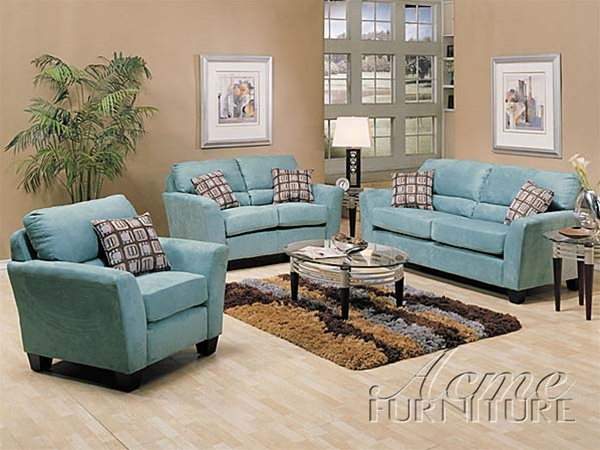 2 piece westwood sofa set in tiffany blue microfiber cover - Sofa azul turquesa ...