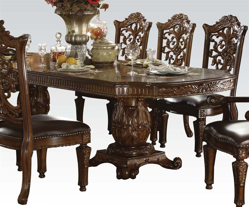 Cherry Dining Sets: Vendome 7 Piece Double Pedestal Table Dining Set In Cherry