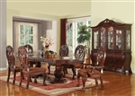 Quinlan Double Pedestal Table 7 Piece Dining Set in Cherry Finish by Acme - 60265