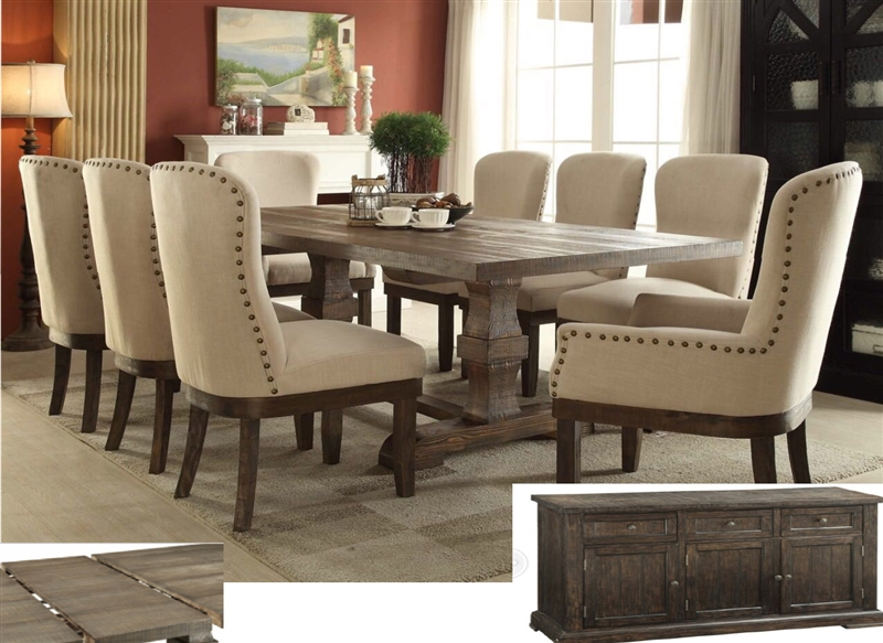 Landon 8 Piece Complete Dining Set In Salvage Brown Finish