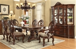 Rovledo Double Pedestal Table 7 Piece Dining Set in Cherry Finish by Acme - 60800