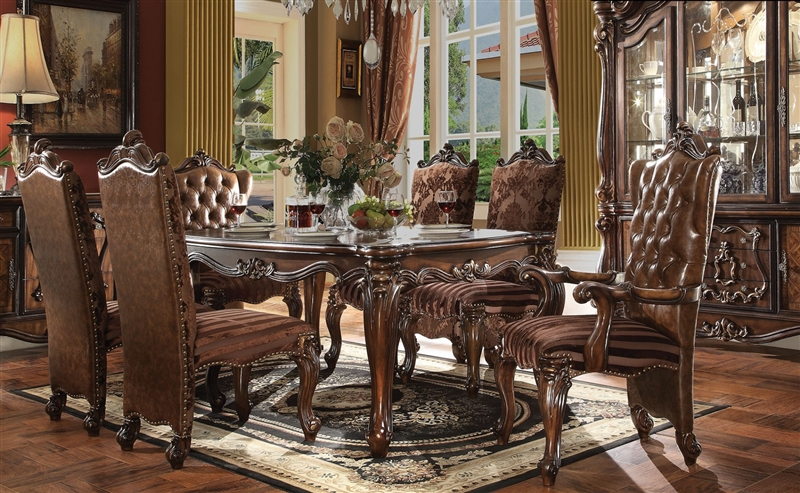 Versailles Leg Table 7 Piece Dining Set In Cherry Oak