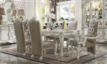 Versailles Leg Table 7 Piece Dining Set in Bone White Finish by Acme - 61140