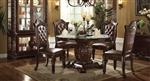 Vendome 5 Piece 54-Inch Glass Top Pedestal Table Dining Set in Cherry Finish by Acme - 62010-54