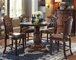 Vendome 5 Piece 48-Inch Round Glass Top Counter Height Pedestal Table Dining Set in Cherry Finish by Acme - 62030