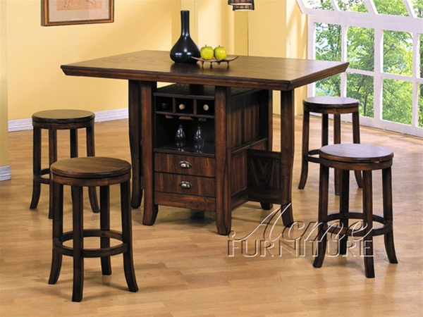 5 Piece Heritage Hill Counter Height Kitchen Island Set In Oak Finish By Acme 6300