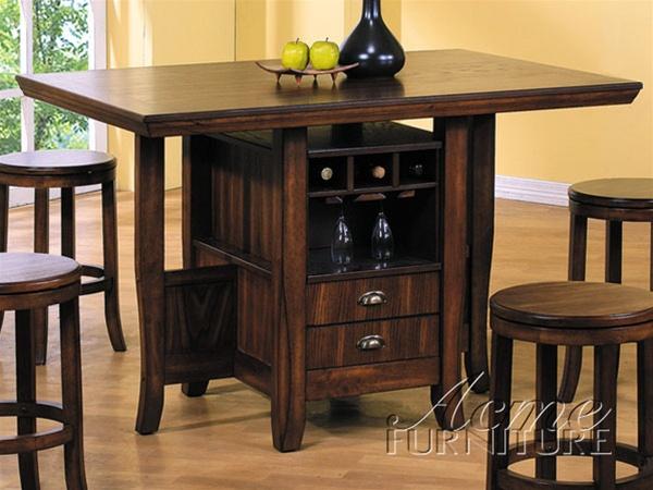 5 Piece Heritage Hill Counter Height Kitchen Island Set in Oak