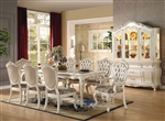 Chantelle 7 Piece Dining Set in Pearl White Finish by Acme - 63540