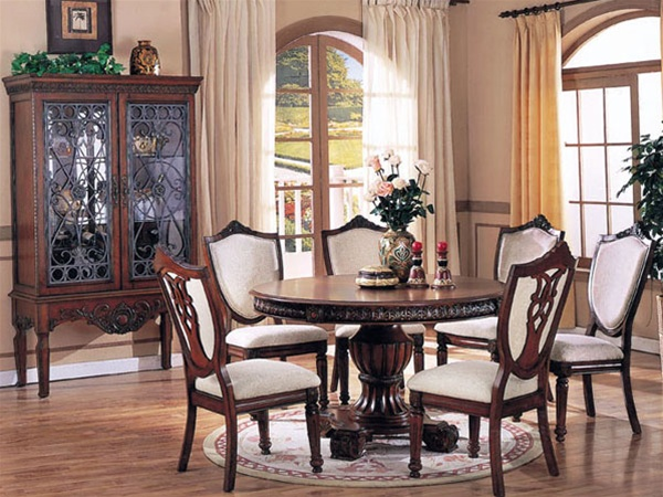 Heirloom 7 Piece Round Table Dining Set in Brown Cherry Finish by Acme -  6842 - Heirloom 7 Piece Round Table Dining Set In Brown Cherry Finish By