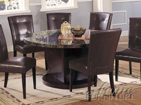 Danville 5 Piece Round Black Marble Top Dining Set In