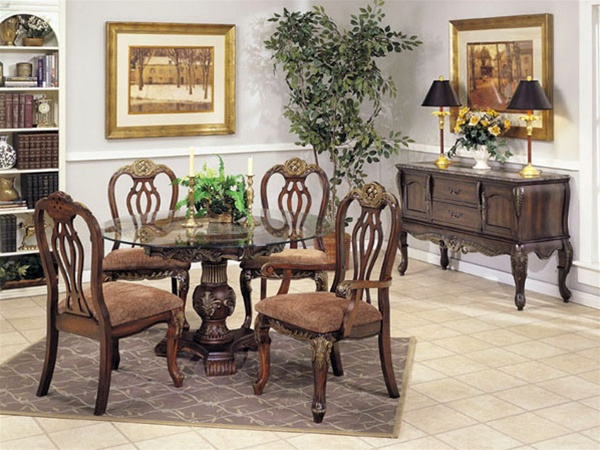 Bordeaux MarbleGlass Top Gold Brushed 5 Piece Dining Set in
