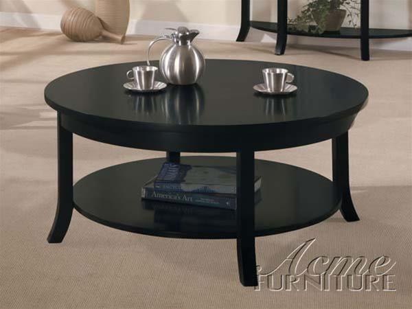 Gardena Round Coffee Table In Dark Espresso Finish By Acme