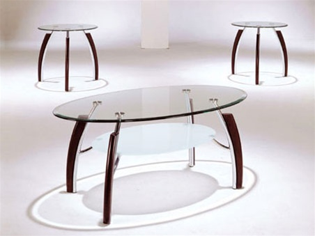 Martini glass top 3 piece coffee end table set by acme 8188 for Glass coffee table sets