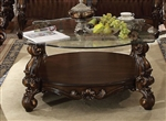 Versailles Round Glass Top Coffee Table in Cherry Oak Finish by Acme - 82080