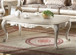 Chantelle Marble Top Coffee Table in Pearl White Finish by Acme - 83540