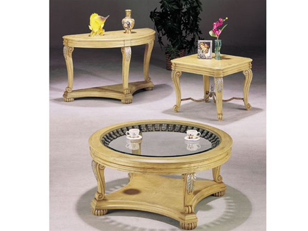 Kimberly Antique White Finish Coffee/ End/ Sofa Table Set By Acme   8589 S