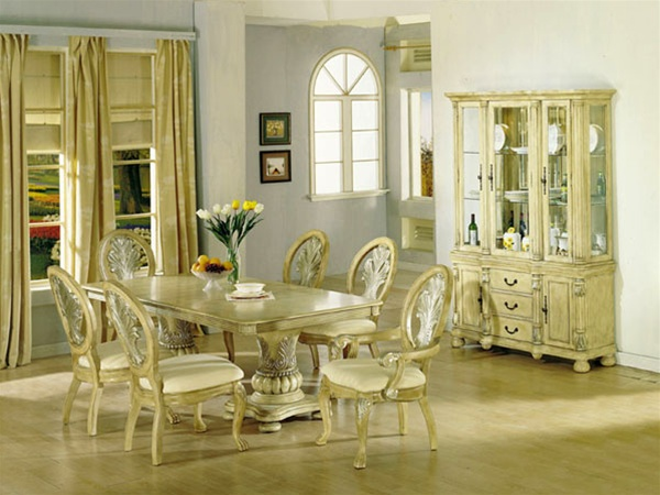 Coronado Antique White Silver Brushed 7 Piece Dining Set By Acme