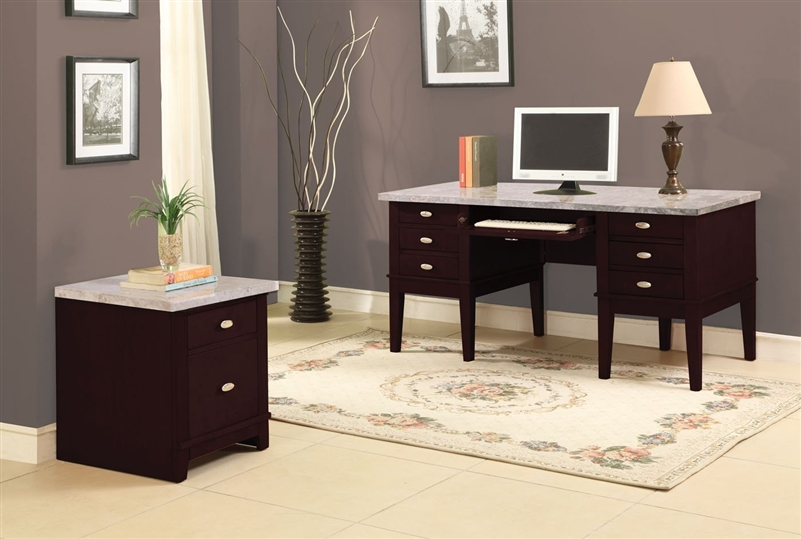Britney Marble Top Home Office Desk in Espresso Finish by Acme - 92008