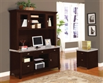Britney 2 Piece Marble Top Credenza and Hutch in Espresso Finish by Acme - 92012