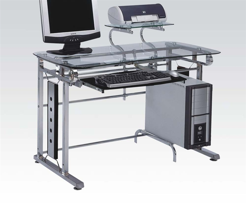 Felix Glass And Chrome Computer Desk By Acme